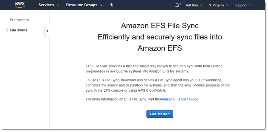 EFS File Sync – Faster File Transfer To Amazon EFS File Systems | M