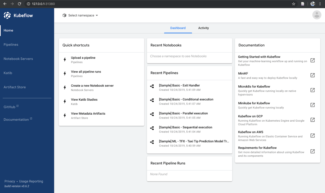 The Kubeflow central dashboard.