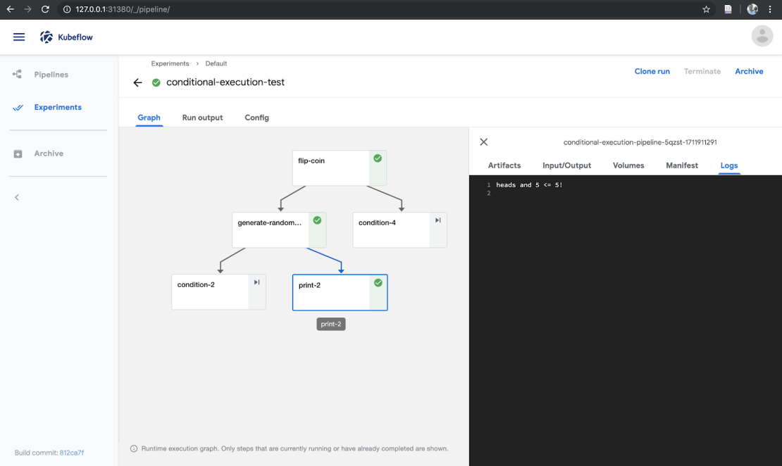 The Kubeflow Conditional execution pipeline run.