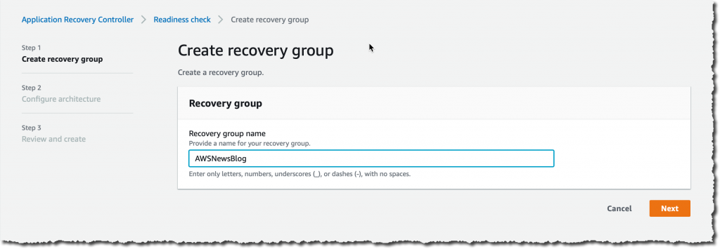Create Recovery Group - enter a name