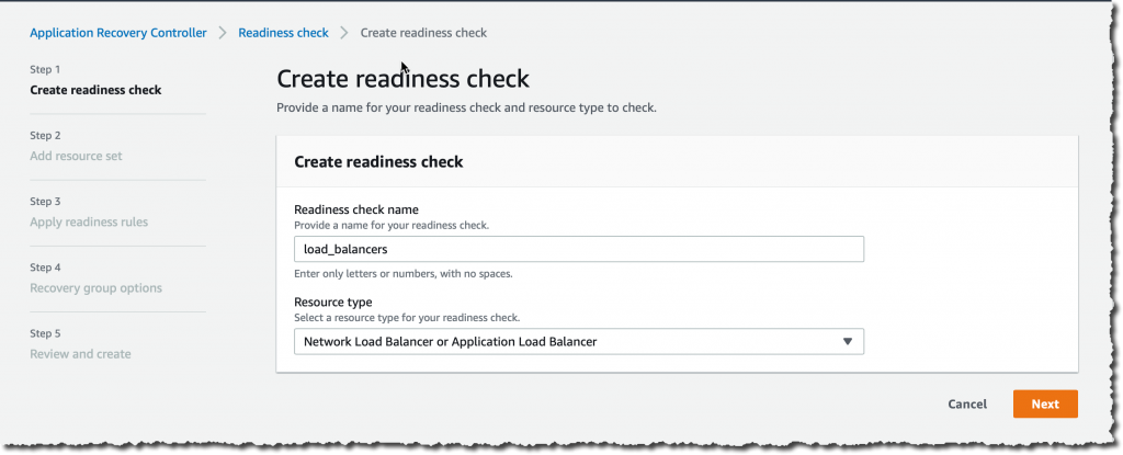 Create Readiness Check Step 1